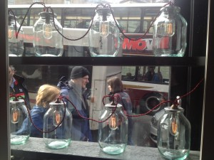 Strike a light: the frontage of the Newsroom Bar and Eatery is dominated by giant jam jar bulbs