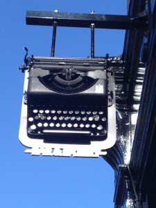 The typewriter signage ties in with the name of the Newsroom Bar and Eatery