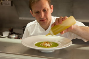 Fabrice Bouteloup puts the finishing touches to a dish at Barley Bree