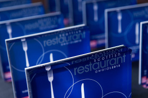 The Scottish Restaurant Award trophies waiting to be given out