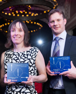 Alison and Fabrice with both their Scottish Restaurant Awards prizes