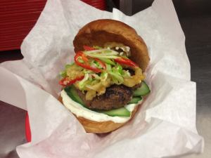 Skinny's Thai beef burger: the name may be Skinny's but the burgers are fat.