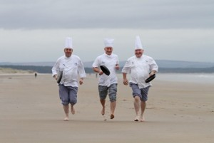 Top chefs from St Andrews create their own version of Chariots of Fire. Pic by Ron Cathro.