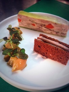 The chicken terrine comes with a gingerbread sandwich and piccalilli at Bistro Moderne by Mark Greenaway