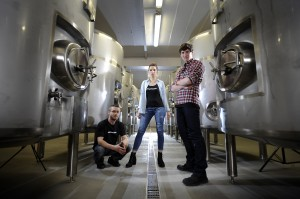 The Drygate Brewing collective. From L to R: Jake Griffin, Alessandra Confessore, Edward Furmston-Evans. Picture © Andy