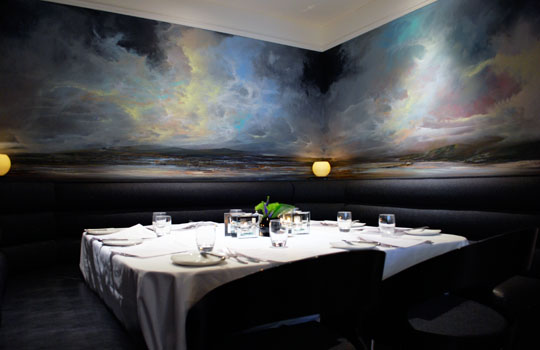 Book early for table one at Sisters Kelvingrove with the gorgeous mural backdrop.