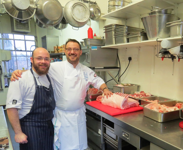 Mathieu and Fred Berkmiller in the kitchen at L'Escargot Blanc