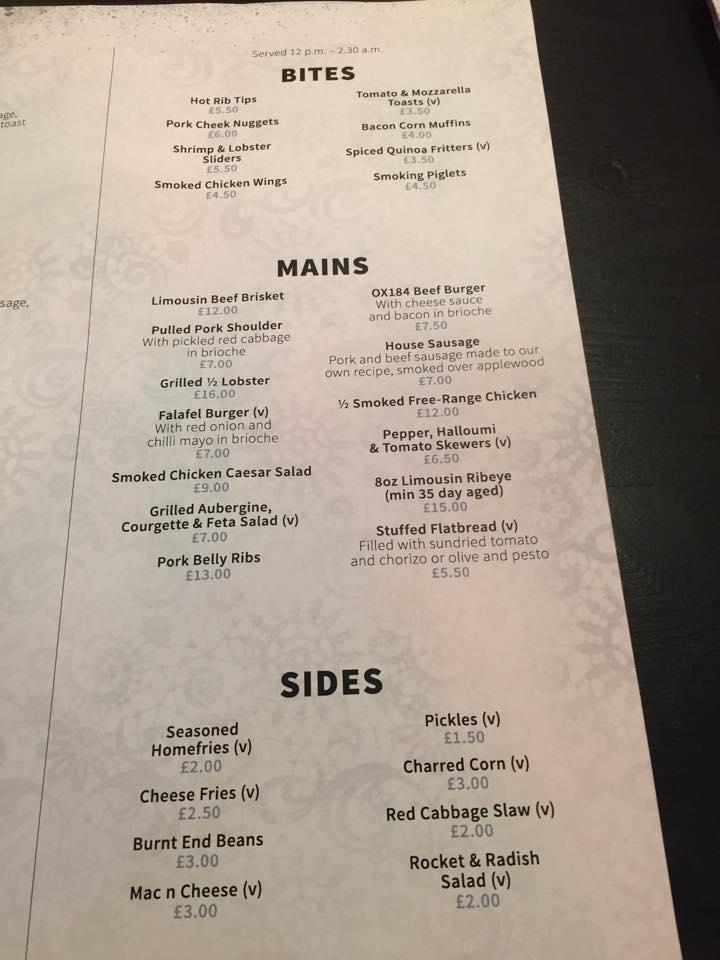 oX184 menu