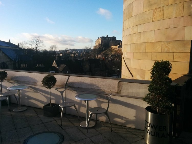 The terrace at Tower Restaurant has views to Edinburgh Castle.