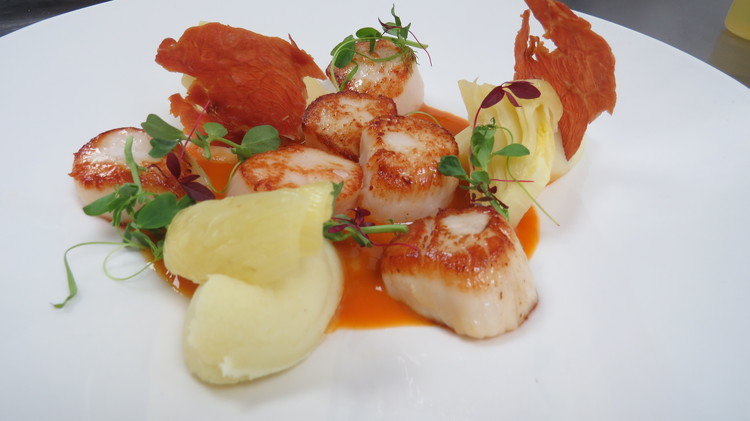 Hand-dived scallops with skordalia mash, crispy ham and bouillabaisse sauce.