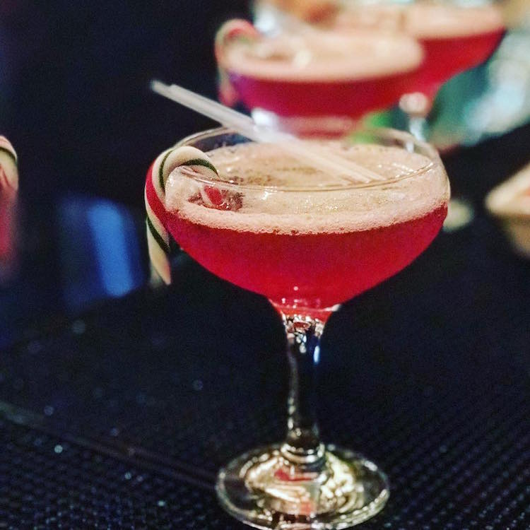 Christmas Cocktails in Glasgow - Bread + Butter Candy Cane Cosmo