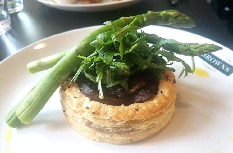 Mushroom and asparagus tart from Browns