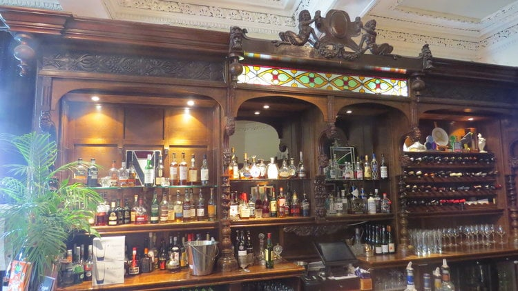 The eye-catching bar bar at Two Fat Ladies at The Buttery.