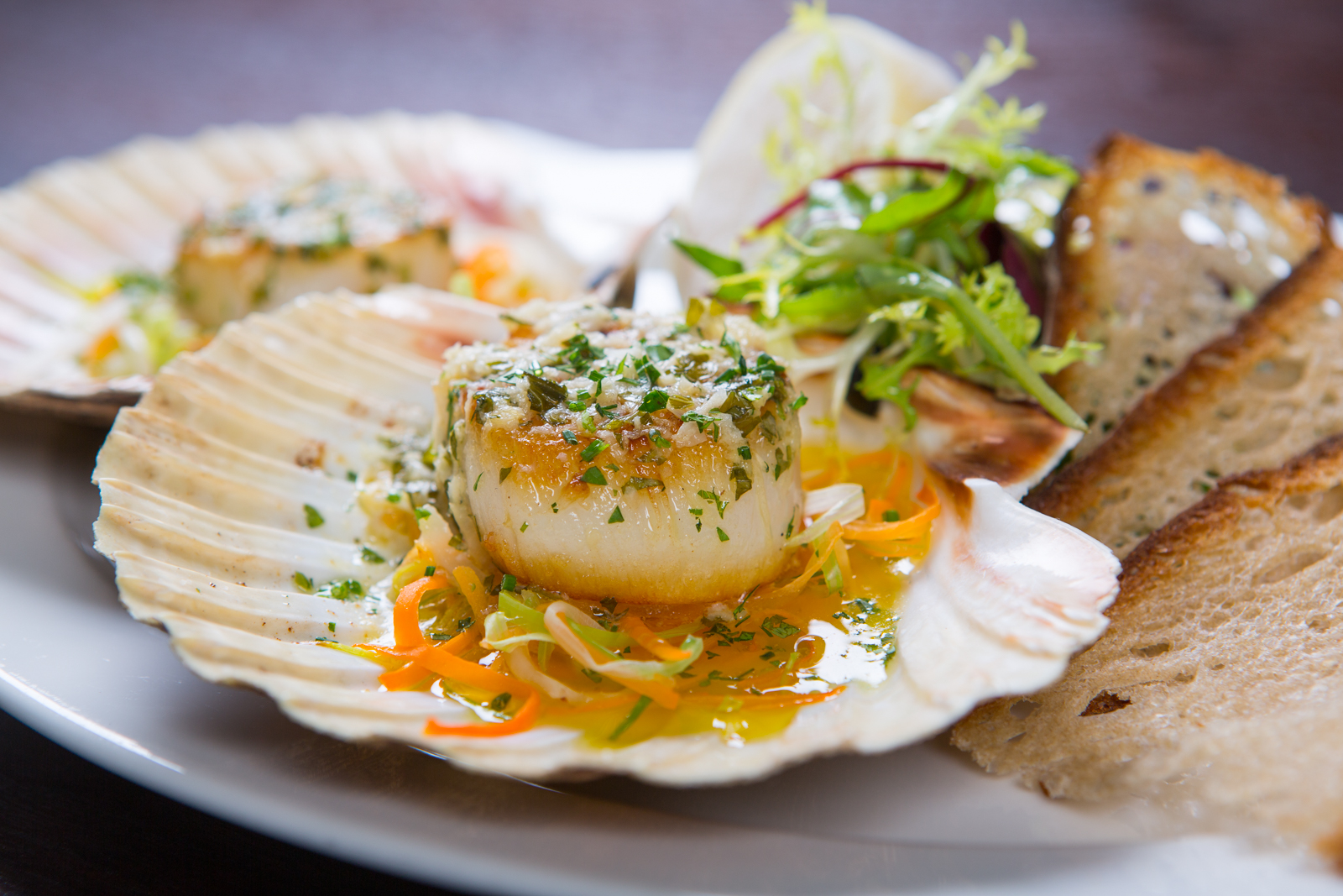 Dish of scallops in shell at Galvin Brasserie.